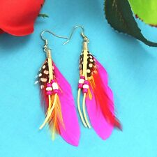 "vogue charm elegant dangle ""Handmade"" Mei red  Feather earrings FREE shipping M1"
