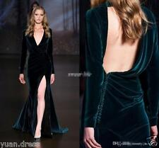 Velvet Sexy Open Back Formal Evening Dresses Prom Long Bridesmaid Gowns Custom
