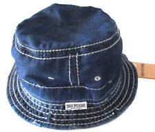 MENS TRUE RELIGION DENIM BLUE VINTAGE DISTRESSED BUCKET HAT SIZE L/XL