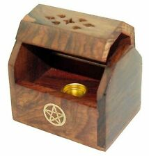 Miniture Shesham Incense Cone Burner Box With Brass Pentagram (V30)