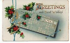 Greetings and Best Wishes, Christmas, Vintage Postcard, Oct