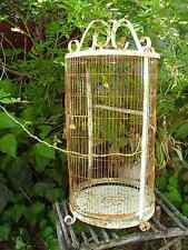 Large Vintage Wrought Iron Birdcage White Rusty Indoor Outdoor Decor Bird Cage