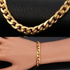 STAMPED REAL18K GOLD FILLED MENS LINK CHAIN BRACELET 8.5 INCHES 8MM 20 GRAMS