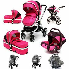 iSafe 3 in 1  Pram System - Raspberry Pink Travel System + Carseat + Raincover
