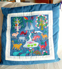 "Embroidered Jungle Animals Pillow  Slate Blue  16"" Square  See Matching Hanging"