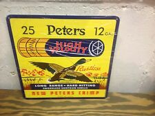 VINTAGE STYLE PETERS 12 GAUGE HIGH VELOCITY SHOT GUN SHELL SIGN GREAT GRAPHIC'S
