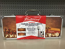 Budweiser Original 5 pc Grilling Set with Wood Clydesdale Carry Case New In Box