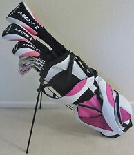 NEW Womens Complete Golf Set Driver Wood Hybrid Irons Putter Bag Pink Ladies