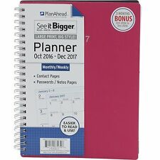 PlanAhead 2017 Monthly Weekly Planner Agenda See It Bigger Pink Medium Size