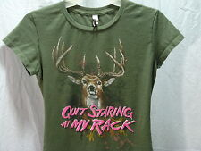 All Style S Quit Staring My Rack cotton short sleeve green T shirt women Small