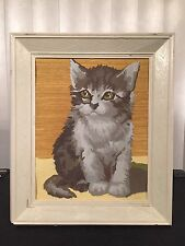 Vintage 70s Gray Kitten Cat Paint By Number Painting Framed PBN Grey Kitty