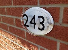 MODERN OVAL HOUSE SIGN / PLAQUE - QUALITY ACRYLIC WITH BACKPLATE