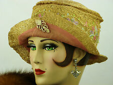 VINTAGE HAT ORIGINAL 1920s SUMMER HAT CLOCHE, STRAW, CHIFFON, LACE & DECO HATPIN