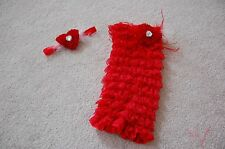 My first Red Romper Set headband included