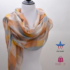 Women's Chic Long Plaid Checkered Scarf Wrap Shawl Light Weight - Beige S058-BG