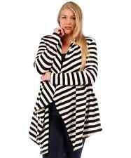 NEW WOMANS PLUS SIZE CLOTHING BLACK & IVORY LONG STRIPED OPEN CARDIGAN 5X