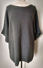 Eileen Fisher Merino Wool Slouch Sweater L Gray Short Sleeves Oversize Boxy