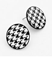 Black and White Silver Houndstooth Post Earrings