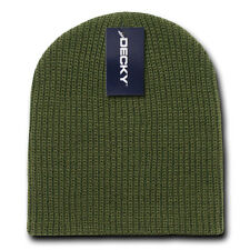 Olive Green G.I. Cuffless WATCH HAT Short Knit BEANIE Winter Cap army military