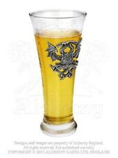 ALCHEMY AQUA VITAE PEWTER DRAGON BADGE BEER ALE GLASS CREST PINT GOTHIC PUNK EMO