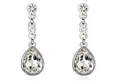 Amazing Bridal Silver & White Tear Drop Wedding Dangle Earrings E602