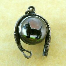 Antique Silver Reverse Painted Crystal Scotty Dog Charm Riding Crop Fox Hunting