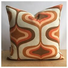 Original Vintage Orange Psychedelic  Fabric Cushion Cover 60s 70s