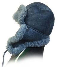 Blue Russian Military Style Aviator Trapper Genuine Shearling Sheepskin Hat, 3XL
