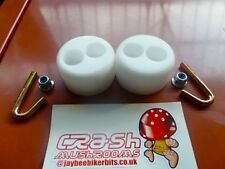DRZ/CRF/KTM/WR/SXV/SMR SUPERMOTO FOOT PEG REST SLIDERS CRASH MUSHROOM WHITE R6D5