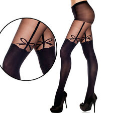 Black Sheer Faux Thigh High Stockings Illusion Garter Belt Bow Pantyhose Tights