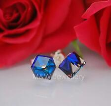 STUDS EARRINGS SWAROVSKI ELEMENTS CUBE BERMUDA BLUE 6mm STERLING SILVER 925