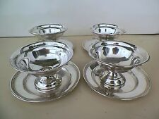 SET OF 4 STERLING SILVER DESSERT/FRUIT/ICE CREAM  PLATE & COMPOTE 388.6GRAMS