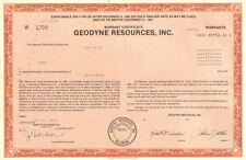Geodyne Resources Inc. 1983 Tulsa Oklahoma oil gas warrant certificate