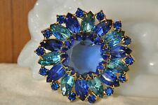 Vintage Rhinestone Brooch Pin Royal Blue Aqua Rhinestone Brooch Pin