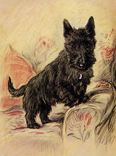 SCOTTISH TERRIER CHARMING SCOTTIE DOG GREETINGS NOTE CARD DOG STANDS CHAIR ARM