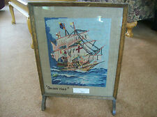 Fireplace Screen Antique Victorian Needle Point Textile Tapestry Golden Hind