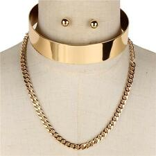 """14"""" gold layered cuff choker collar necklace .50"""" earrings .80"""" wide 143"""