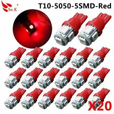 20Pcs Ultra Red T10 W5W 5050 5-SMD Interior Package LED Light bulbs 194 168