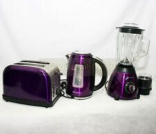 Purple Kitchen Set Electric 1.7L Kettle 500W Blender Wth Grinder 2 Slice Toaster