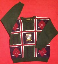 Vintage polo style CREW-NECK GOLF SWEATER,  sz XL green cable knit stitched logo