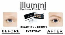 illummi 24hr Eyebrow Powder Compact and 5 Stencil Kit 4 Mixed Colours with brush