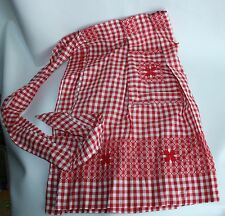 Red Gingham Rockabilly apron Pretty Details Handmade Embroidered
