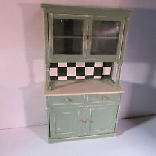 1/12 scale doll house miniature hand painted green kitchen hutch dresser