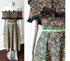 Off Shoulder Mexican Floral Vintage 70s Ruffle Swing Midi Strapless Dress Sz M