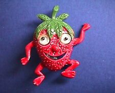 BUY1&GET1@50%~PIN Anthropomorphic STRAWBERRY GOOGLY EYES Vtg 1960s Enamel Fruit