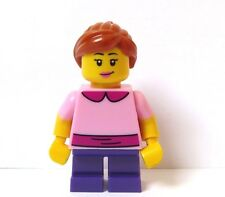 Lego Pretty Female Girl Minifigure Pink Top Short Purple Legs Reversible Head