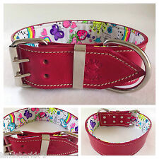 Large Pink Leather Dog Collar with Fluro Fun Peace & Love Inner Lining