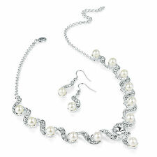 white pearl diamante necklace earring bracele tcrystal wedding bridal n26620