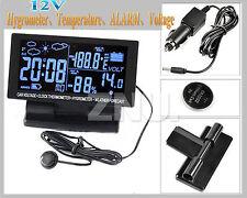 DC 12V lED Digital Clock Car F/C Thermometer Hygrometer Voltage Weather Forecast