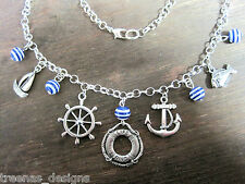 *NAUTICAL LIFE RING BLUE STRIPE CHARM SP NECKLACE* Anchor Wheel Fish Sailor Gift